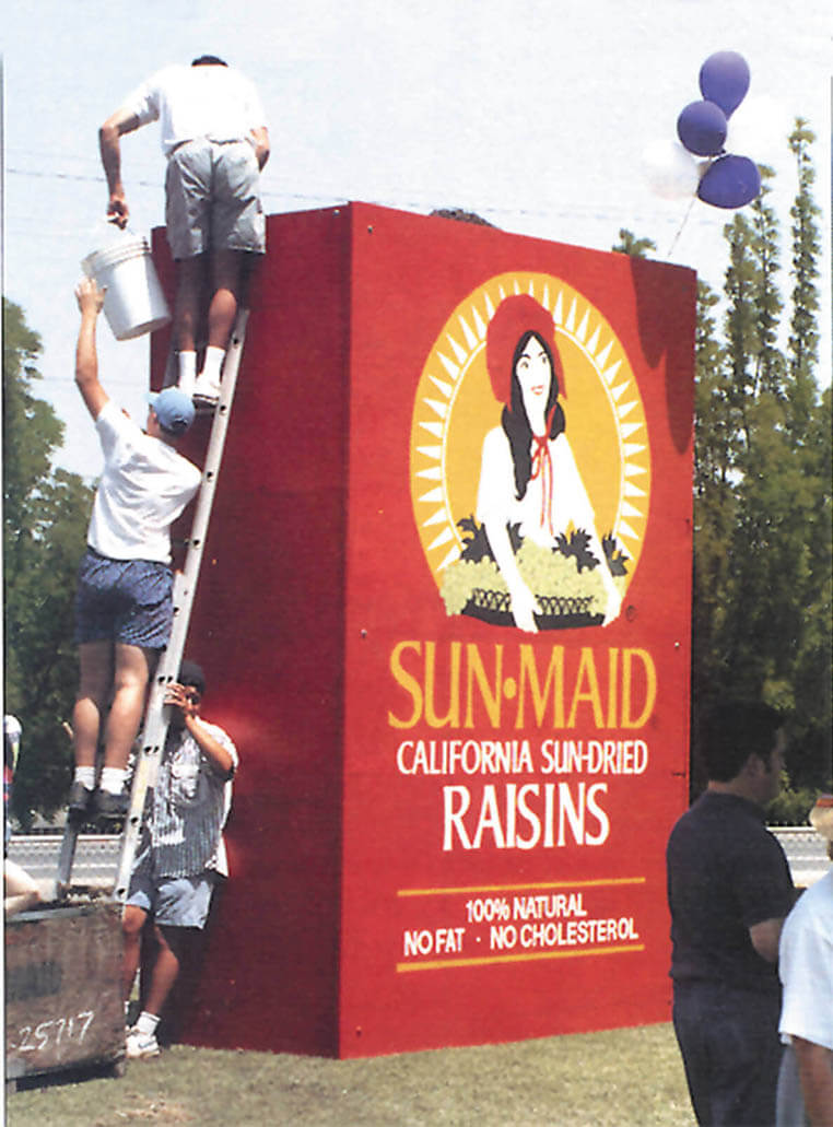 California State University students constructing a 12 foot by 8 foot raisin box